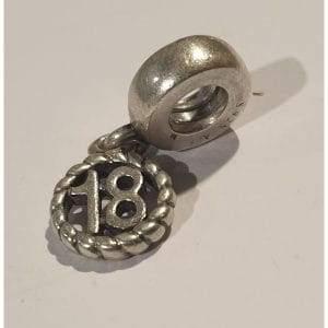 371e87e25 Authentic Pandora Number 18 Birthday Dangle Silver Charm #790495 Retired